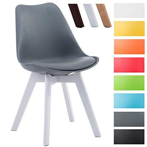 CLP Design Retro Stuhl BORNEO V2, Besucherstuhl mit Holzgestell, Materialmix aus Kunststoff und Kunstleder Grau, Gestellfarbe: weiß