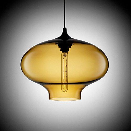 KJLARS Leuchtmittel Glas Pendellampe Hängeleuchte Modern Hängelampe Klassische Pendelleuchte im Essentisch (Bernstein)