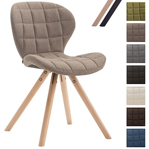 CLP Design Retro-Stuhl ALYSSA, Bein-Form rund, Stoff-Sitz gepolstert, Lounge-Sessel, Buchenholz-Gestell, Taupe, Gestellfarbe: Natura