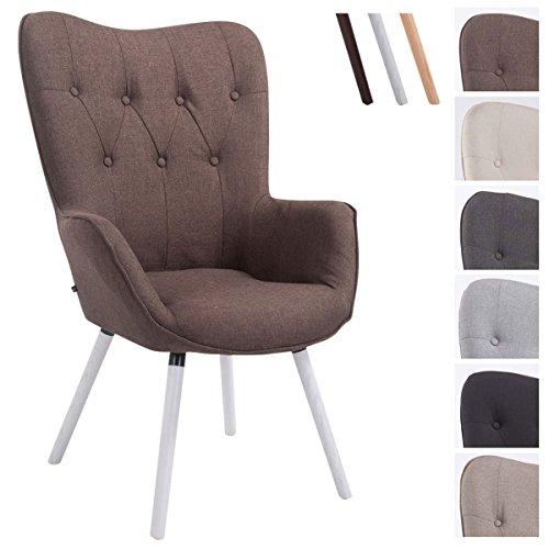 CLP Retro-Stuhl mit Armlehne AALBORG, Stoff-Bezug, Holz-Gestell Eiche, belastbar bis 160 kg, sesselförmiger Sitz, gepolstert, Sitzhöhe 49 cm Braun, Holzgestell Farbe: Weiß