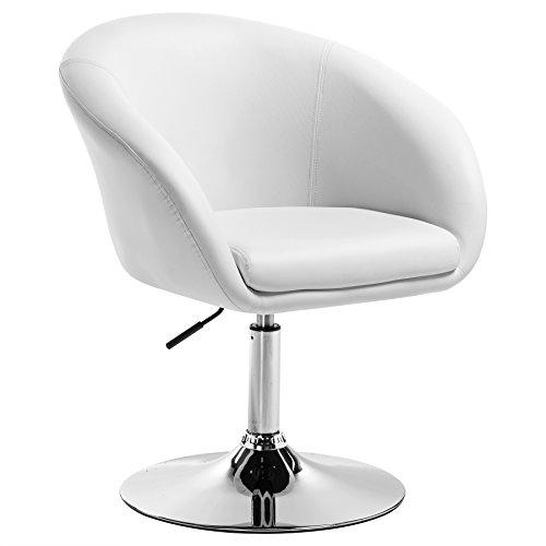 WOLTU BH24ws-1 Barsessel 1er Set, stufenlose Höhenverstellung , verchromter Stahl , Kunstleder , gut gepolsterte Sitzfläche mit Armlehne und Rücklehne, Weiß