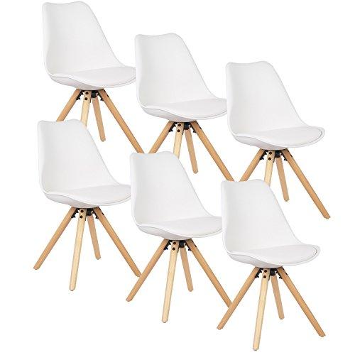 WOLTU® 6 x Esszimmerstühle 6er Set Esszimmerstuhl mit Sitzfläche aus Kunstleder Design Stuhl Küchenstuhl Holz, Neu Design, Weiß BH52ws-6