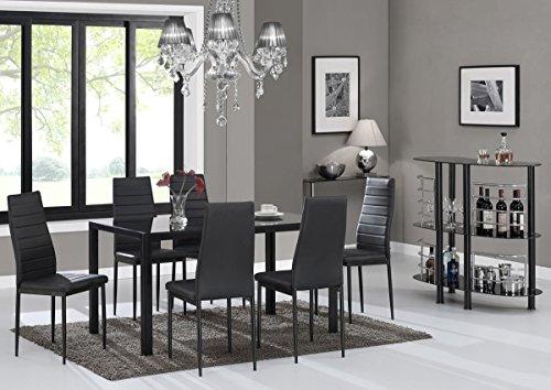 EBS® Esstisch Stuhl Set Essgruppe Tischgruppe Esstischgruppe Sitzgruppe Esszimmergarnitur: Schwarz Glas Metall Esstisch 6 Kunstleder Stuhl