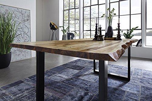 SAM® Esszimmertisch 160x85 cm Ida, echte Baumkante, massiver Esstisch aus Akazienholz, Metallbeine schwarz, Baumkantentisch
