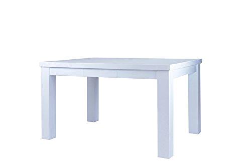Cavadore Esstisch Alabama / Moderner Küchentisch in Hochglanz Weiß lackiertem Holz / mit 2 Schubladen / 120 x 80 x 76 cm (L x B x H)