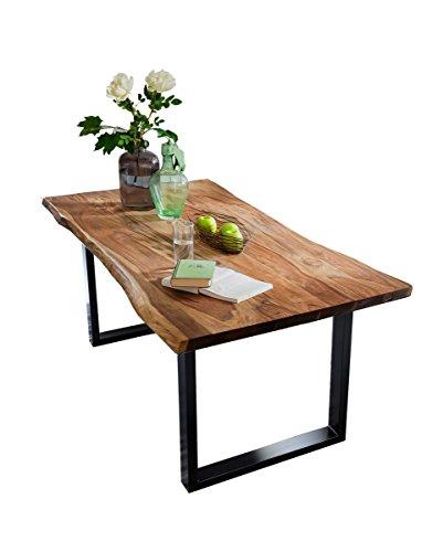 Esstisch Akazie-Holz massiv mit Baumkante Esszimmertisch Nussbaumfarben 160/180/200 Fuß silberfarben oder schwarz (160x85cm, schwarz)