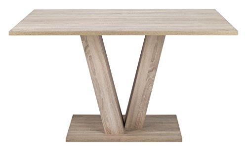 """Cavadore Tisch """"David"""" / Moderner Tisch in Eichenholz Optik / Resistent gegen Schmutz / 160cm x 90cm x 75cm (BxHxT)"""