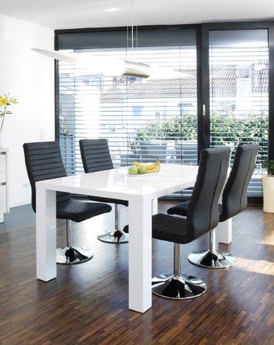 Ess-Tisch weiß Hochglanz aus MDF 120x80cm recht-eckig   Luca   Moderner Küchen-Tisch aus MDF-Holz weiss 120cm x 80cm   Vierfußtisch Hochglanz weiß lackiert   Designer Esszimmertisch mit strahlender weißer Farbe