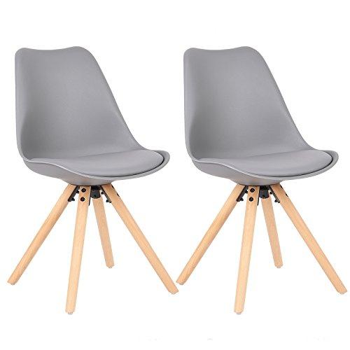 WOLTU® BH52gr-2 2 x Esszimmerstühle 2er Set Esszimmerstuhl mit Sitzfläche aus Kunstleder Design Stuhl Küchenstuhl Holz, Neu Design, Grau