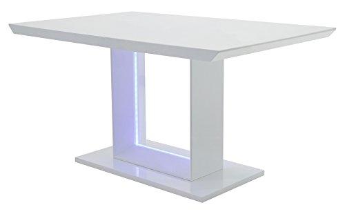 Cavadore Esszimmertisch Blace / Moderner Esstisch mit blauer LED Beleuchtung / Hochglanz Weiß / 140x75x90 cm (LxBxH)