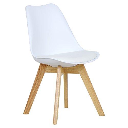 WOLTU BH29ws-1 1 x Esszimmerstuhl 1 Stück Esszimmerstuhl Design Stuhl Küchenstuhl Holz Neu Design Weiß