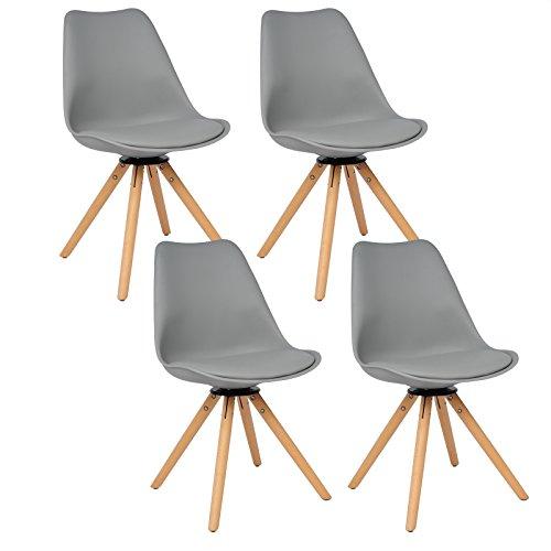 WOLTU BH57gr-4 4 x Esszimmerstühle 4er Set Esszimmerstühle Design Stuhl Küchenstuhl 360° frei drehbar Holz Neu Design Grau