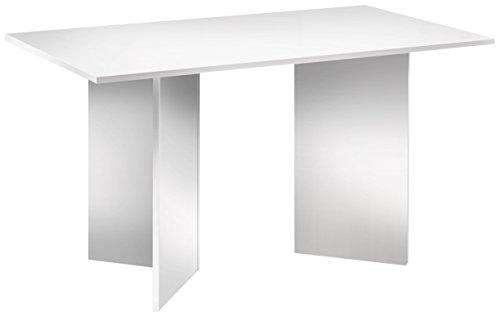 Cavadore Tisch Angle / Moderner Esstisch in weißer Optik mit Melamin-Tischplatte / Resistent gegen Schmutz / 140 x 75 x 75 cm (L x B x H)