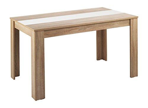 Cavadore Tisch Nico / Moderner Esstisch mit Melaminplatte in Schwarz-Weiß / Melamin Sonoma Eiche / Hellbraun / 160 x 90 x 75 cm (L x B x H)