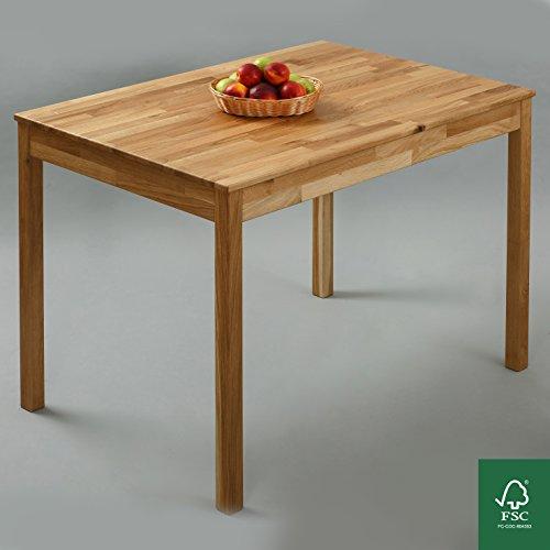 Esstisch Massivholz Eiche 100% FSC Tomas Esszimmertisch Massivholz Tisch (110 x 75 x 75 cm)