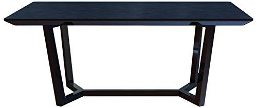 """Cavadore Esstisch """"Joy"""" / Formschöner Speisezimmertisch mit matter, schwarz lackierter Glasplatte auf schwarz lackierter Holz-Optik / 160x76x80cm (BxHxT)"""