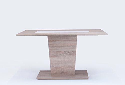 Cavadore Esszimmertisch Venga / Moderner Esstisch mit Melaminplatte in Schwarz-Weiß / Melamin Sonoma Eiche / 140 x 80 x 75 cm (LxBxH)