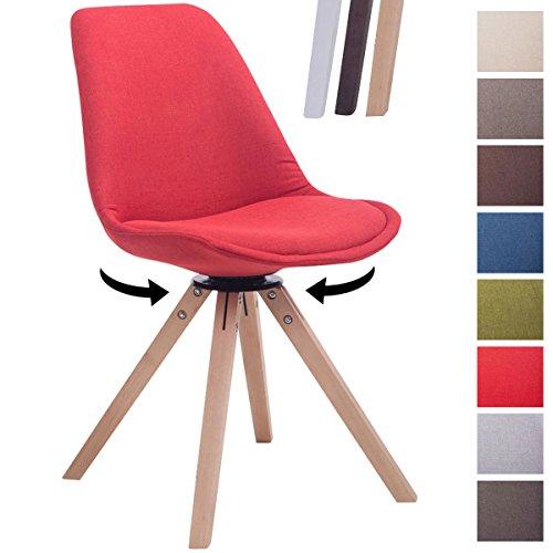CLP Design Retro-Stuhl TROYES SQUARE, Stoff-Sitz gepolstert, drehbar Rot, Holzgestell Farbe natura, Bein-Form eckig