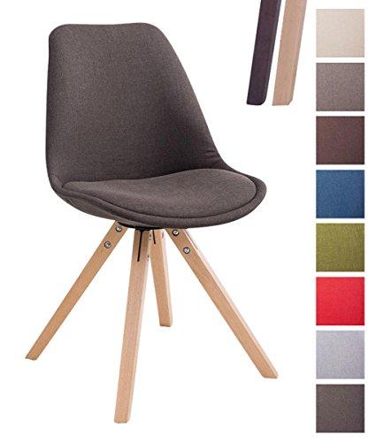 CLP Design Retro-Stuhl TOULOUSE SQUARE, Stoffbezug gepolstert Dunkelgrau, Holzgestell Farbe natura, Bein-Form eckig