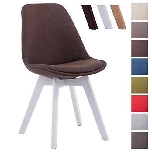 CLP Design Retro Stuhl BORNEO V2, Besucherstuhl mit Holz-Gestell, Küchenstuhl mit Stoff-Bezug Braun, Gestellfarbe: weiß