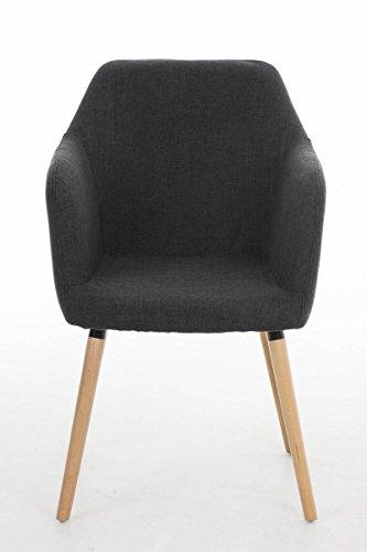 CLP Besucher Design-Stuhl PICARD, Holzgestell, Stoffbezug, gut gepolsterte Sitzfläche, modern Dunkelgrau