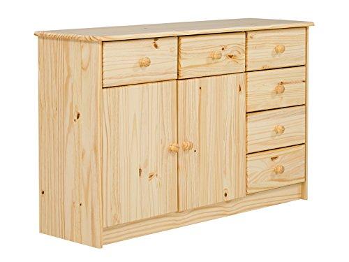 Massivum Sideboard Pinos 6 Schub/2 Tür Kiefer lackiert, Holz, natur, 35 x 117 x 75 cm