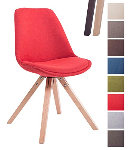 CLP Design Retro-Stuhl TOULOUSE SQUARE, Stoffbezug gepolstert Rot, Holzgestell Farbe natura, Bein-Form eckig