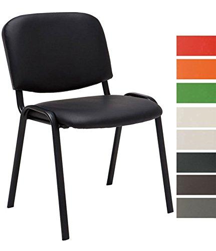 CLP Besucherstuhl KEN mit hochwertiger Polsterung und Kunstlederbezug | Stapelstuhl mit robustem Metallgestell und gepolsterter Rückenlehne | Maximale Belastbarkeit: 120 kg