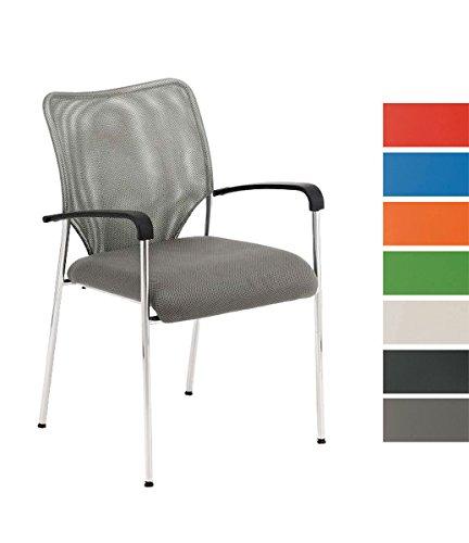 CLP Konferenzstuhl CUBA mit Stoffbezug und hochwertigem Sitzpolster | Besucherstuhl mit Armlehne und Metallgestell