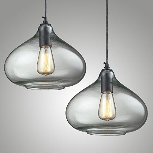 """2x Modern Industrielle Vintage Glas Hängeleuchte, MOTENT Minimalist Pendelleuchte 11,42"""" Breite Ceiling Light Kronleuchter aus Glas Hängelampe E27 Lampenfassung Deckenleuchte Einzel Lampe für Küchen Keller Restaurant"""