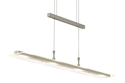 Briloner Leuchten LED Pendelleuchte / Pendellampe dimmbar / Esstischlampe, vier Lichtquellen, höhenverstellbar, 20 Watt/1600 Lumen, Farbe: matt-nickel, Maße: 850 x max. 1750 mm (Breite x Höhe)