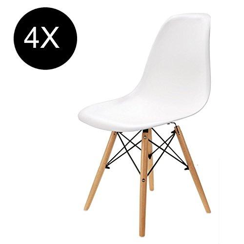 Comfortableplus Set von 4 Esszimmerstühlen Eiffel Retro Plastik Sitz und Holz Beine für Esszimmer Schlafzimmer Küche Weiß