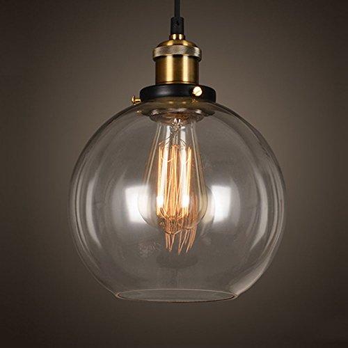 EMOTREE 1x Glas Schirm Kugel-Form Hängelampe Pendelleuchten Retro Antik Kugel-Form Nostalgia Lampe Leuchte für E27 Glühbirne