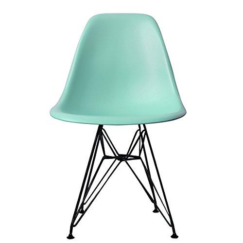 Essstuhl, Kunststoff mit Eiffelturm-inspirierten Beinen, Retro, skandinavischer Stil, DSR
