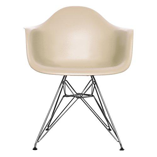 Esszimmerstuhl aus Kunststoffsitz mit Metallbeinen