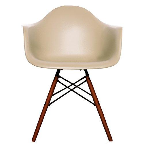 Esszimmer-Sessel, Kunststoff-Sitz, mit Naturholz- oder Walnuss-Beinen in Eiffelturm-Design