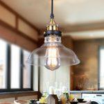 Glighone Pendelleuchte Vintage Glas Hängelampe Industrial Hängeleuchte Retro E27 Φ20cm Anhänger Deckenleuchten Chorm für Esstisch Esszimmer Wohnzimmer Cafe´...