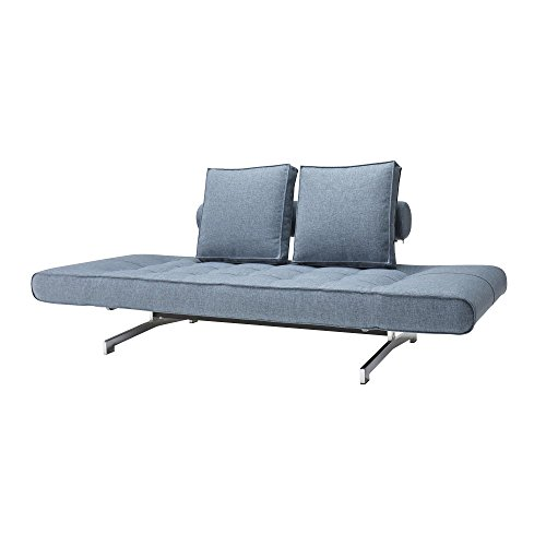 Innovation Ghia Schlafsofa, hellblau Stoff 525 Mixed Dance Light Blue Gestell chrom B: 180-210cm