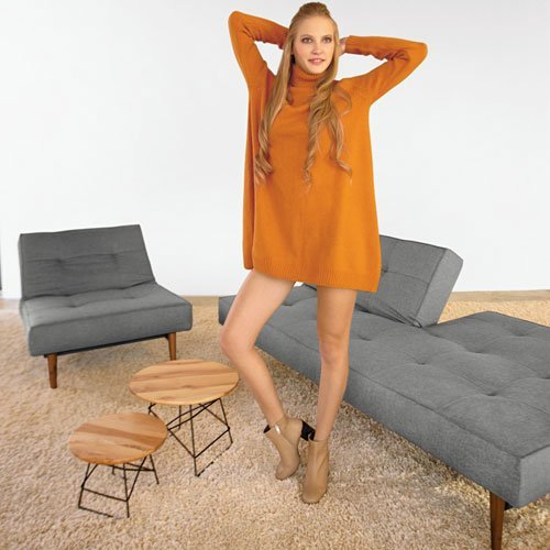 Innovation SPLITBACK WOOD Schlafsofa, Stoff dunkelgrau, 210cm