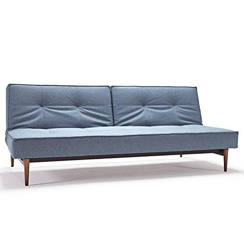 Innovation Schlafsofa mit dunklen Holzbeinen Splitback Styletto Dark Wood Textil hellblau