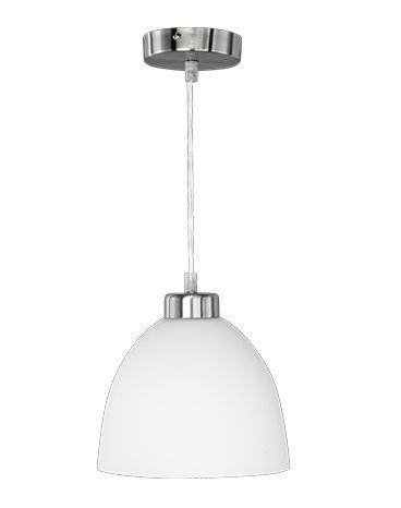 LED Pendelleuchte Theke 7W hell kürzbar warmweiß ⌀ 20cm , Länge 120 cm nickel matt / Glas weiß