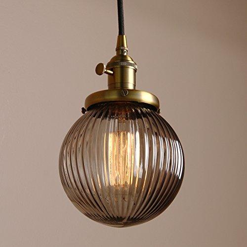 Pathson Antik Design Gestreifte Kleine Kugel Grau Glas innen Pendelleuchte Hängeleuchte Vintage Industrie Loft-Pendelleuchte Hängelampen Hängeleuchte Pendelleuchten