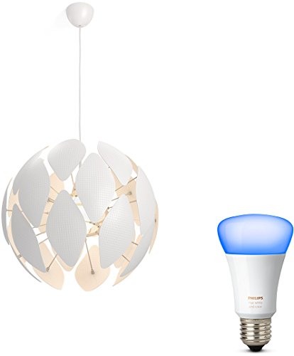 Philips myLiving Pendelleuchte Chiffon, 60 W, E27, weiß, 59 x 59 x 52,4 cm, inkl. Philips 3-in1 LED Lampe Sceneswitch