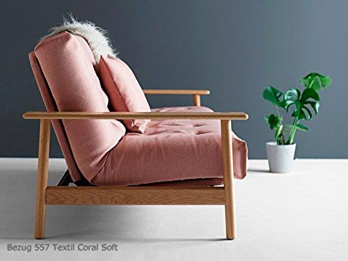 Schlafsofa Balder Deluxe Sofa Couch Bett Schlafcouch Bettfunktion Klappsofa Schlaffunktion Bettsofa Funktionssofa Sofabett Gästebett Jugendbett 3-Sitzer mit Armlehnen - Innovation Design, Bezug:557 Textil Coral Soft