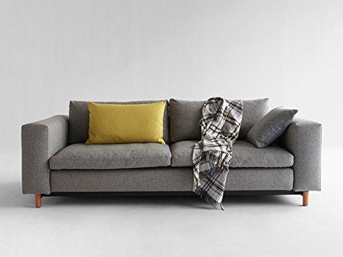 Schlafsofa Magni Sofa Couch Bett Schlafcouch Bettfunktion Klappsofa Schlaffunktion Bettsofa Funktionssofa Sofabett Gästebett Jugendbett 3-Sitzer mit Armlehnen - Innovation Design - Farbe Grau