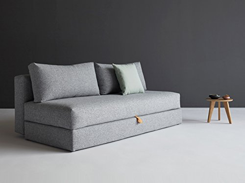 Sofa Schlafsofa Osvald 3-Sitzer Sofa Bettfunktion Schlafcouch ausziehbar Gästebett Schlafsofa mit Bettkasten Innovation, Bezug:565 Textil Granite Twist