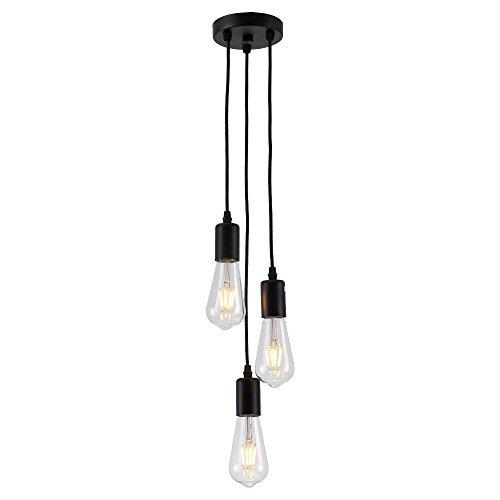 Splink Retro Antike Pendelleuchte 3 flammig Edison Hängelampe mit E27 Lampenfassung Halter DIY Lampe schwarz(Ohne Glübirne)
