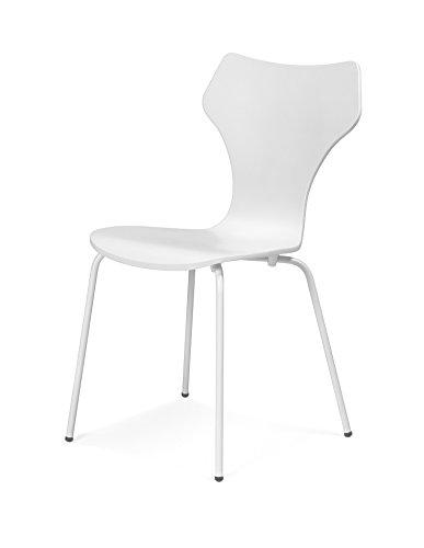 Tenzo 0600-001 Lolly 4er-Set Designer Stühle Holz, weiß, 53 x 45 x 85 cm