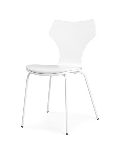 Tenzo 0601-001 Lolly 4er-Set Designer Stühle Holz, weiß, 53 x 45 x 85 cm