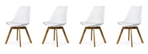 Tenzo 3330-454 Tequila 4er-Set Designer Stühle Chloe, Plastik, weiß / eiche, 54 x 48 x 82 cm